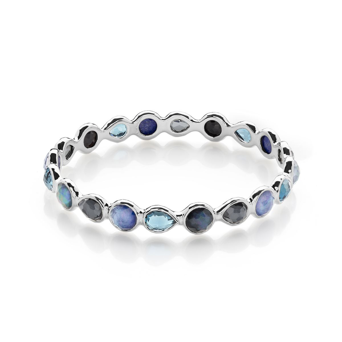 Ippolita Rock Candy Sterling Silver All Around Hinged Bangle in Blue/Brown Pm2iKOaXf