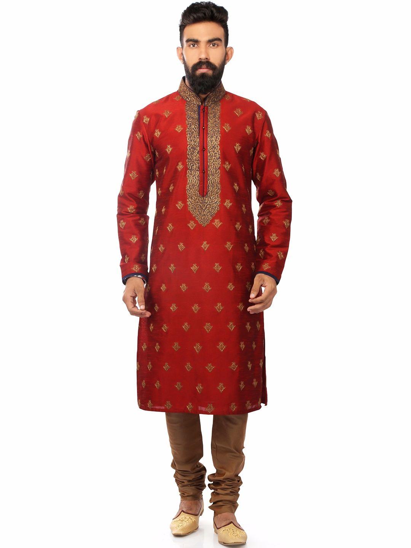 Red Wedding Wear Silk Wonderful Kurta Suit   Buy Men's Kurta Suits ...