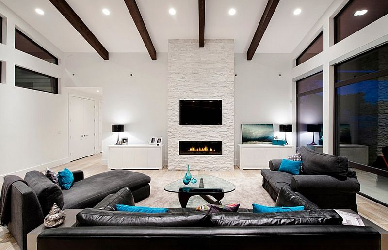 How About Placing The Tv Over The Fireplace Interior Design Inspir Contemporary Living Room Design Living Room Design Modern Furniture Placement Living Room
