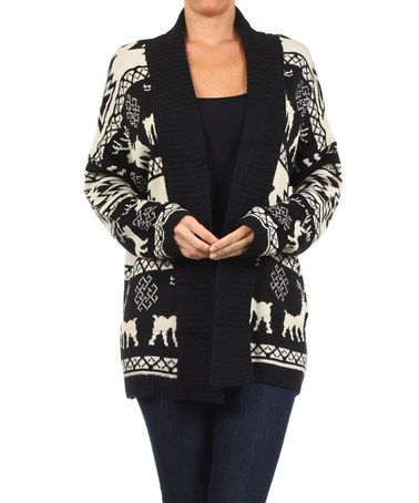 This Black & White Fair Isle Open Cardigan - Women by BellaBerry ...