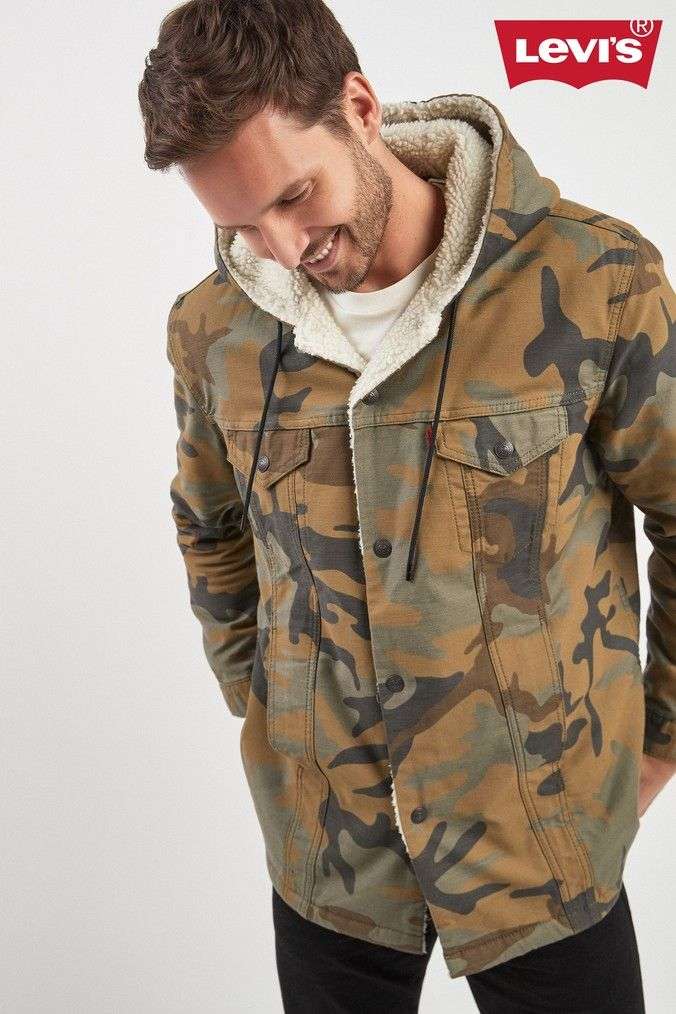 Mens Levi's X Justin Timberlake Camo Sherpa Jacket Green