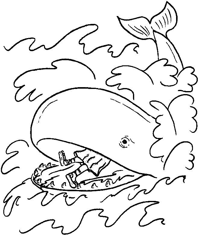 Jonah And The Whale Coloring Page - AZ Coloring Pages | angel ...