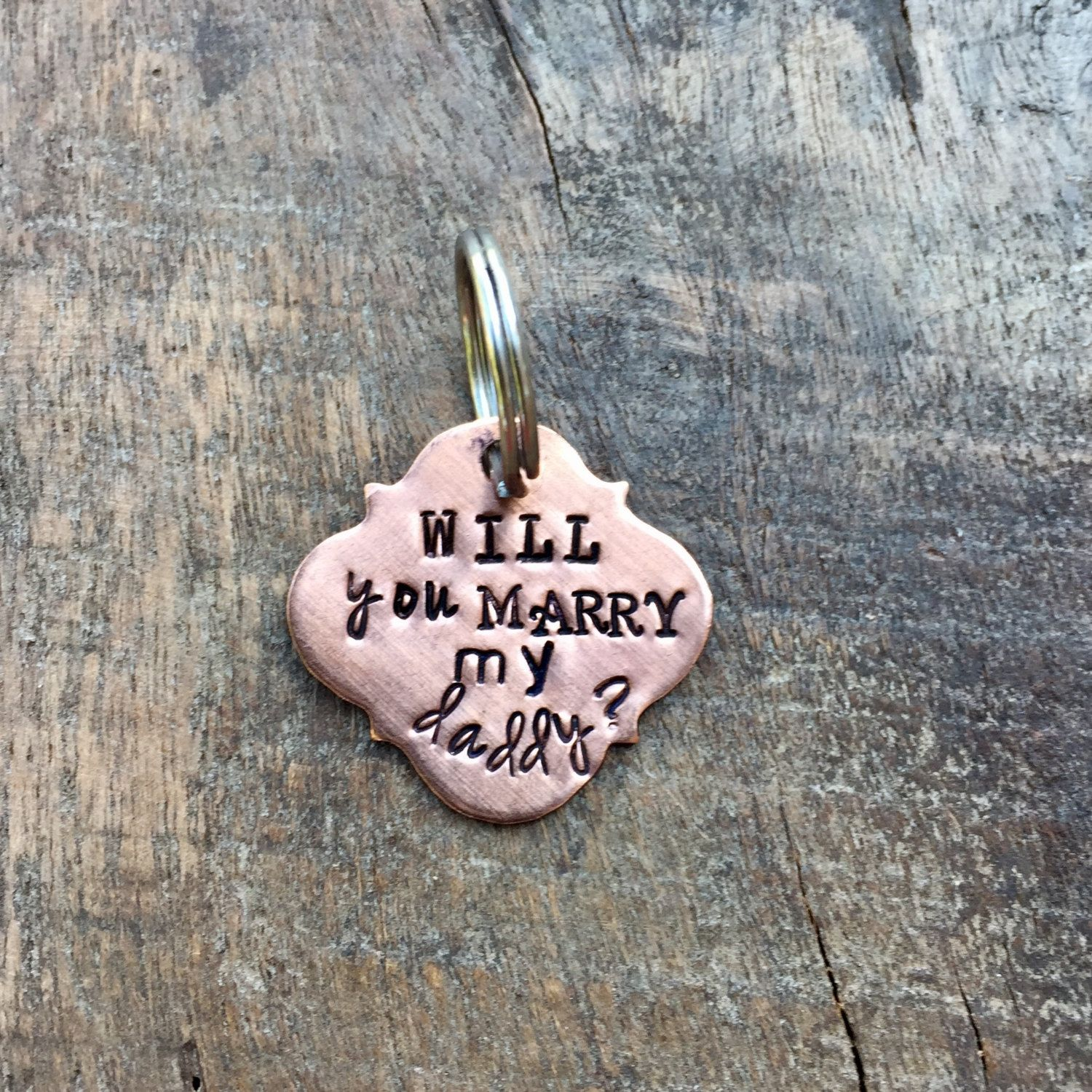 Puppy Proposal Hand Stamped Dog Tag Unique Puppy Pawposal Idea Will You Marry My Daddy Proposal Idea Involving Pet Animal Do Puppy Proposal Dog Proposal Pet Tags