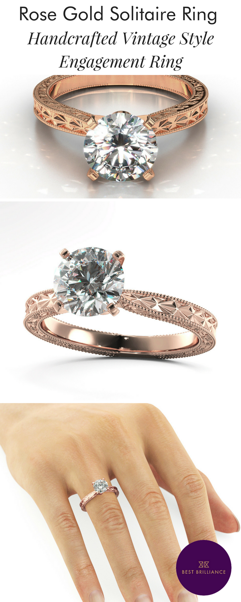 Unique handcrafted vintage style k white gold solitaire ring