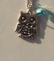 16 Inch Necklace with Owl Charm and Blue Bead by TarasExpressions, $16.00
