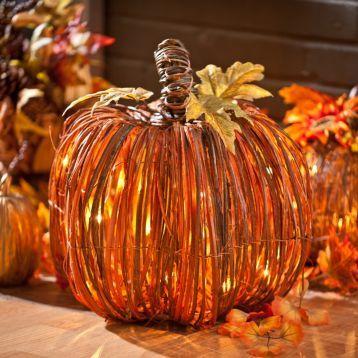 Pre-Lit Natural Rattan Pumpkin, 15 in Pumpkin lights - halloween decorations indoor ideas