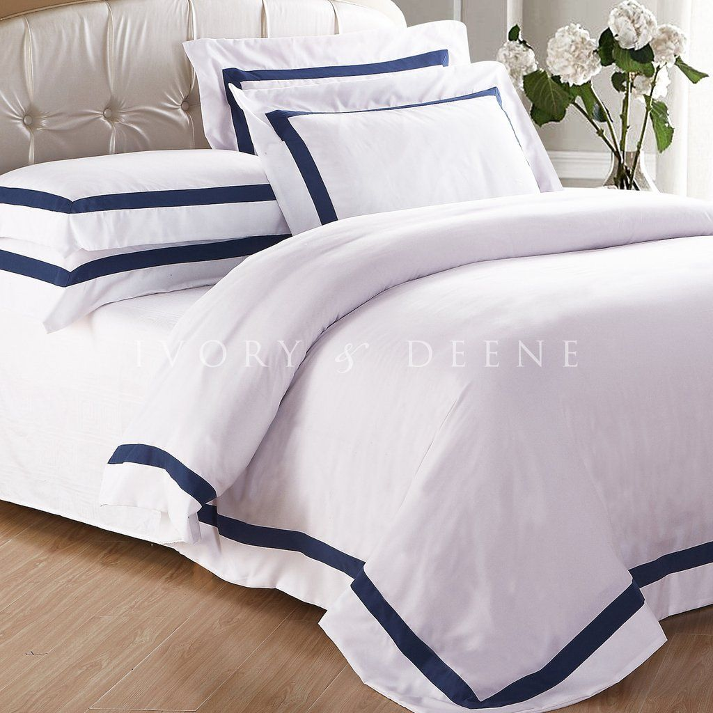 Ava Collection White Quilt Cover Set Navy Trim White Quilt Cover Quilt Cover Sets White Quilt White comforter with navy trim