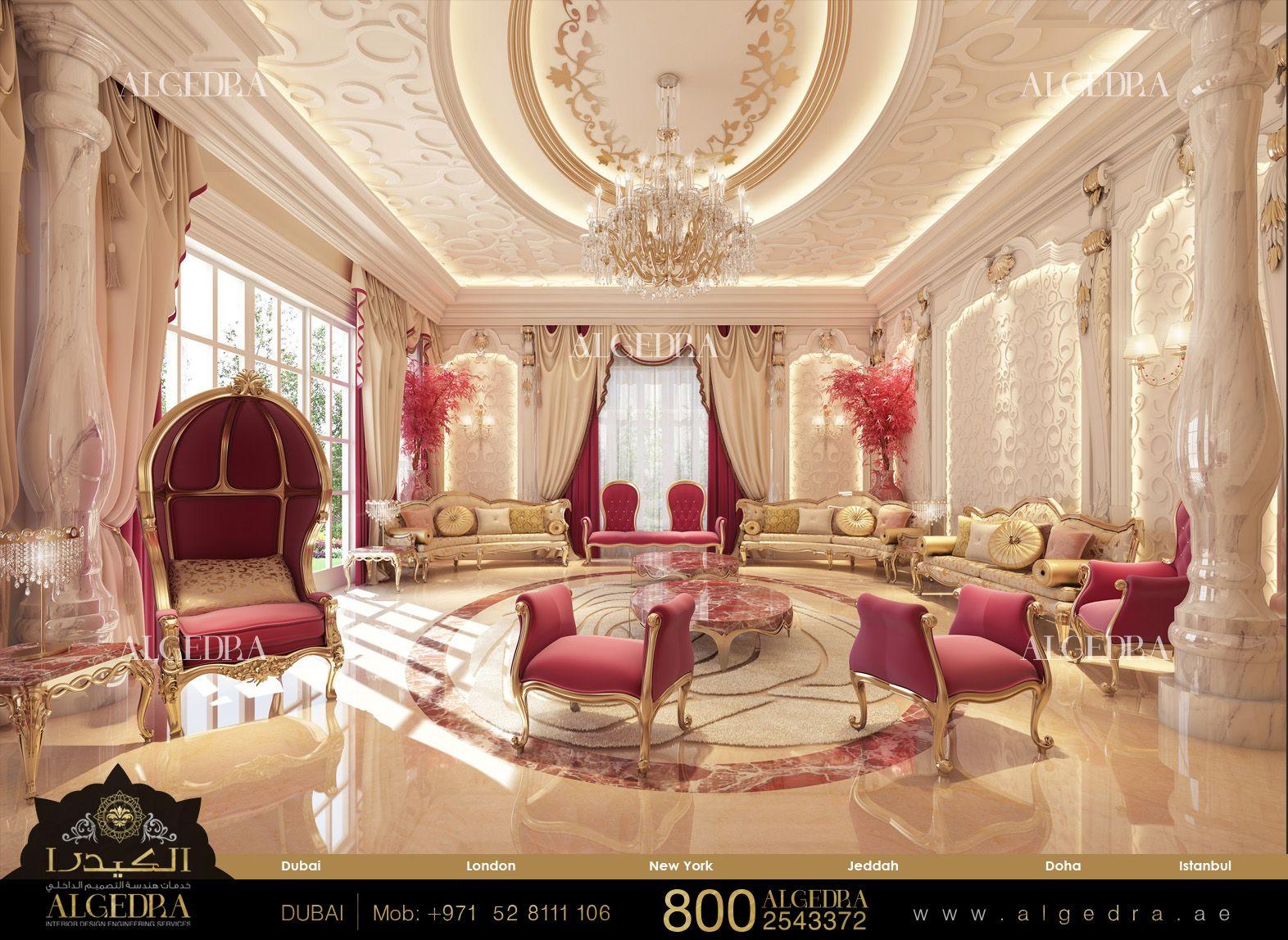 Luxurious Majlis Design By Algedra Interior Design Dubai Luxury Interior Design Luxury Villa Design