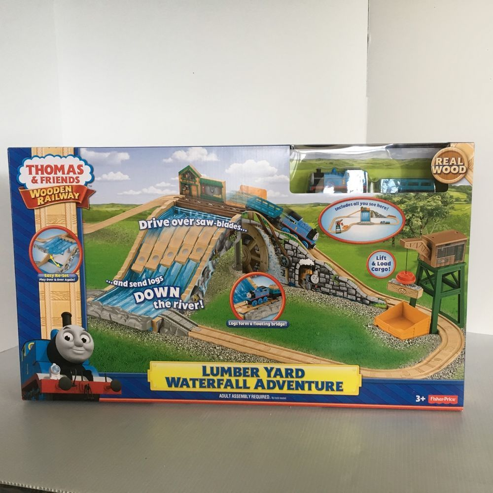 Thomas /& Friends Wooden Railway Lumber Yard Waterfall Adventure Train Set New