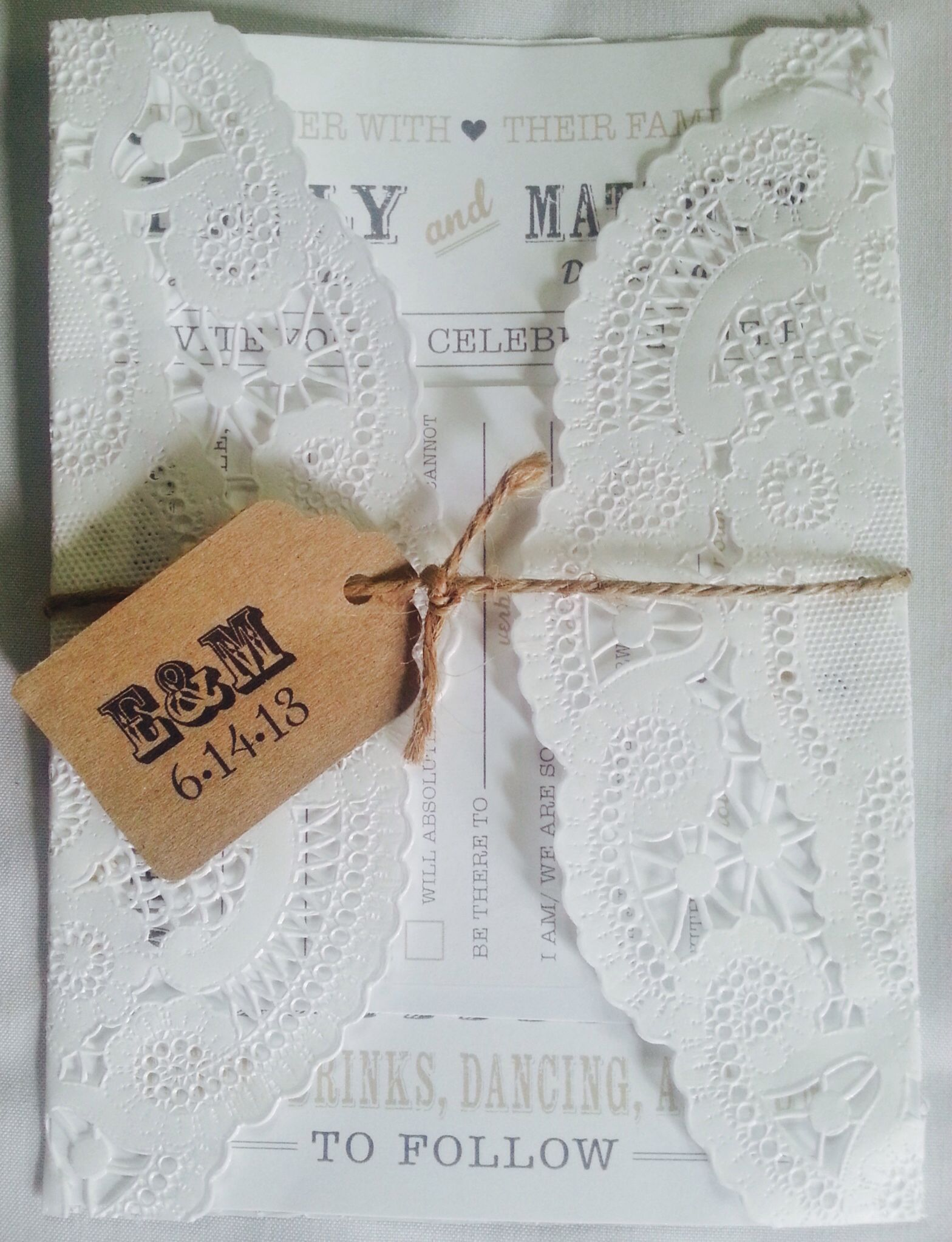 Doily wrapped wedding invitations diy | Emily & Matthew Lam\'s ...