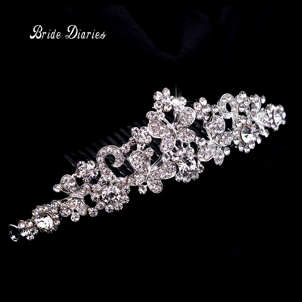 Rhinestone crystals comb clear butterfly hair comb for wedding women