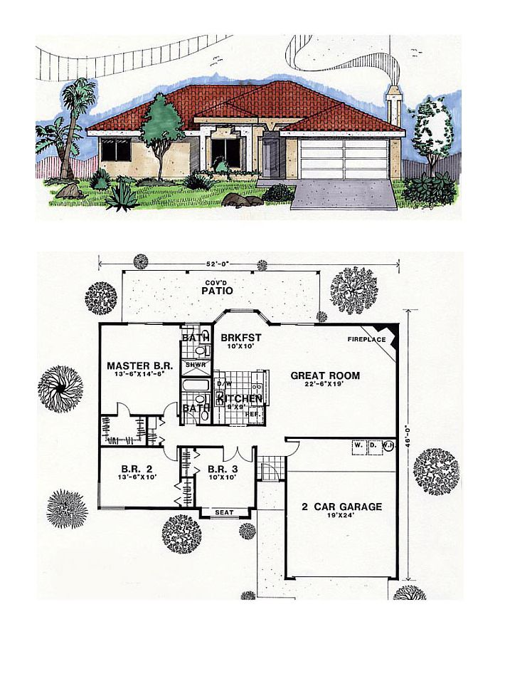 Southwest Style House Plan 54601 With 3 Bed 2 Bath 2 Car Garage Southwest House Sims House Plans House Plans