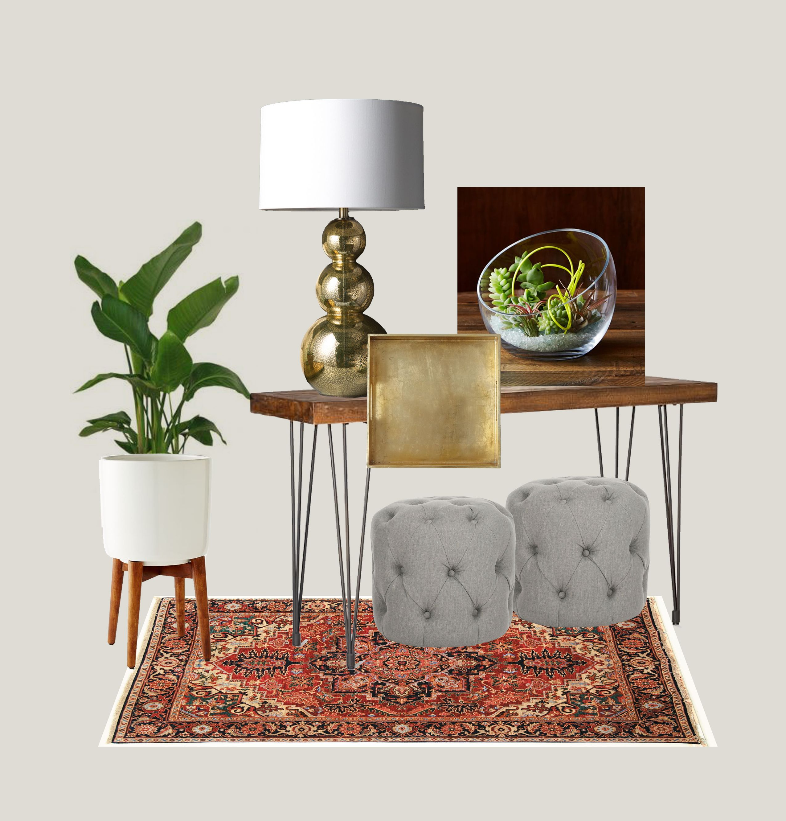Hallway furniture for small space  Small space decorating  Console Table  Tufted Ottomans  Gallery