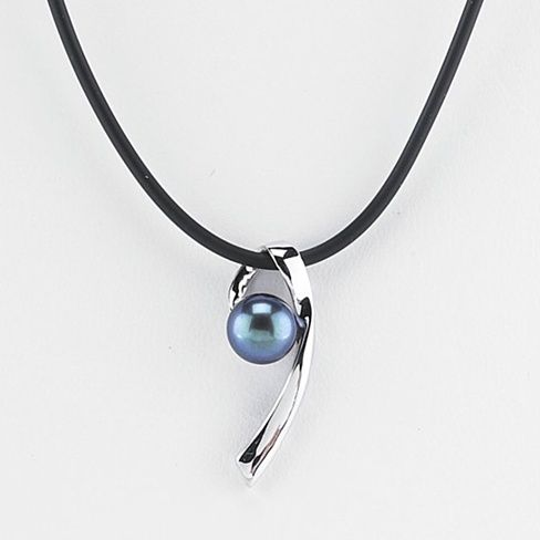 Black Rubber Cord Necklace with Freshwater Cultured Button Pearl