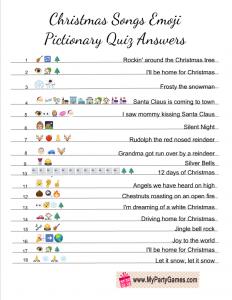 Free Printable Christmas Songs Emoji Pictionary Quiz Answer Key Printable Christmas Games Christmas Song Games Fun Christmas Party Games
