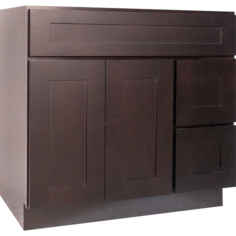 36 Inch Bathroom Vanity Single Sink Cabinet In Shaker Espresso Dark Brown With Soft Cl 36 Inch Bathroom Vanity Brown Bathroom Vanity Bathroom Vanity Cabinets