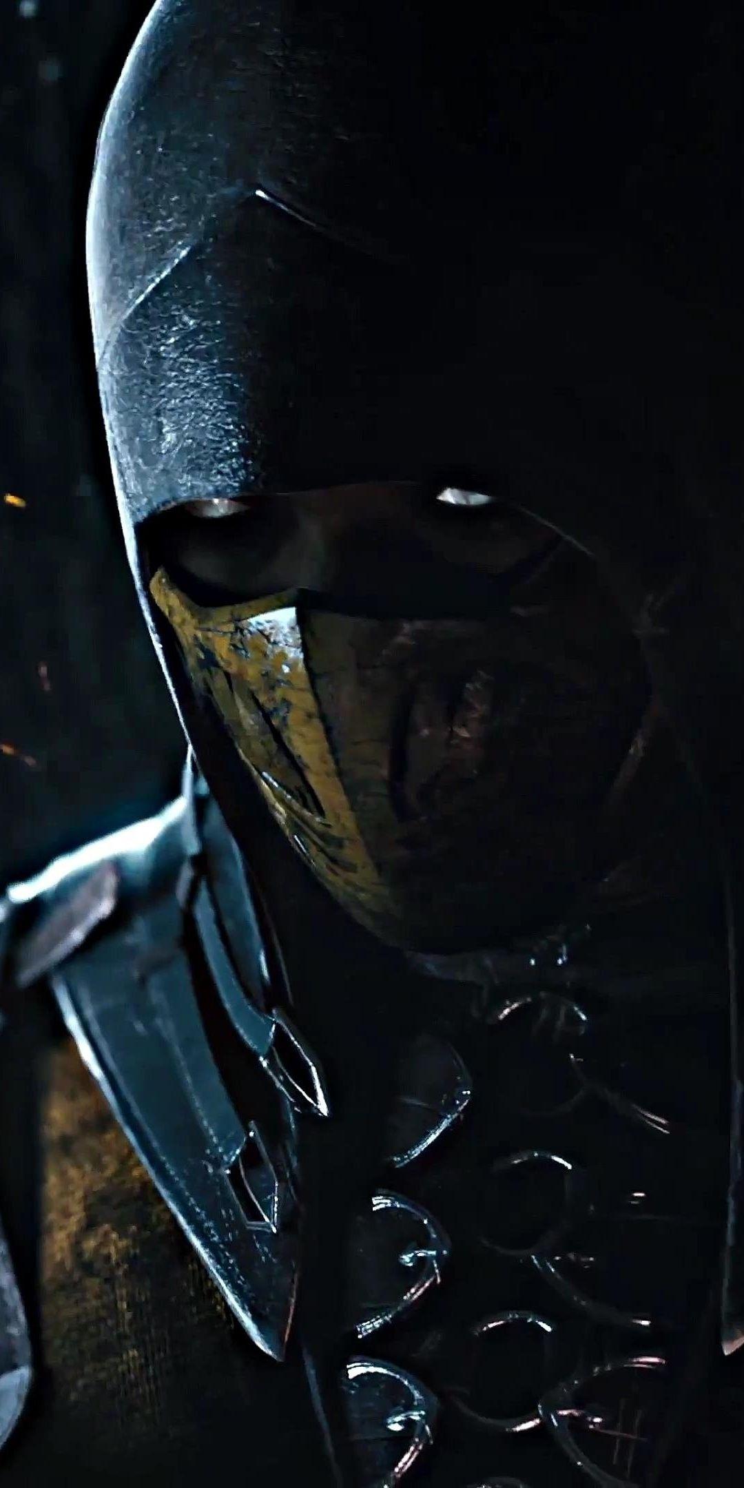 Dark, warrior, Scorpion, Mortal Kombat, 1080x2160