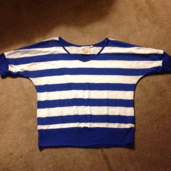 3/4 sleeve shirt Blue & white striped shirt. Tops