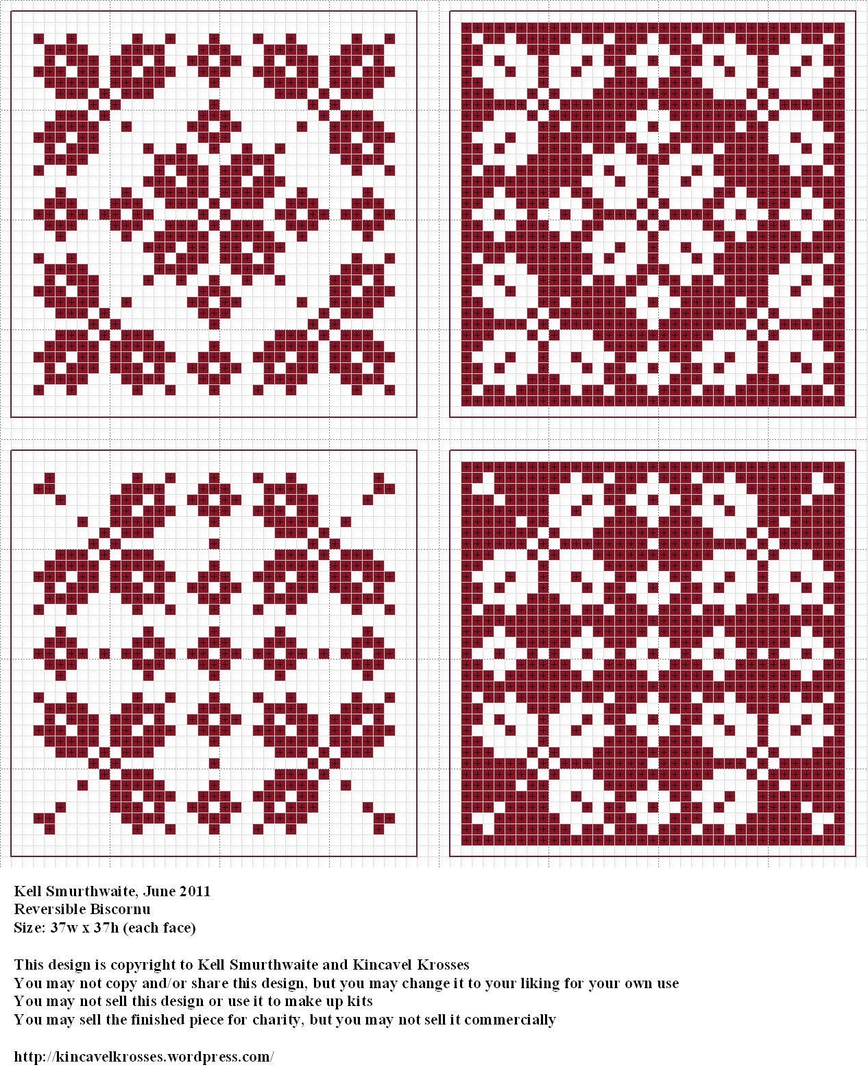 Reversible Biscornu | Biscornu Charts | Cross stitch ...