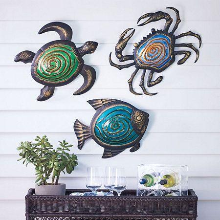 Metal Sea Life Outdoor Wall Decor Aqua Fish Blue Crab Green