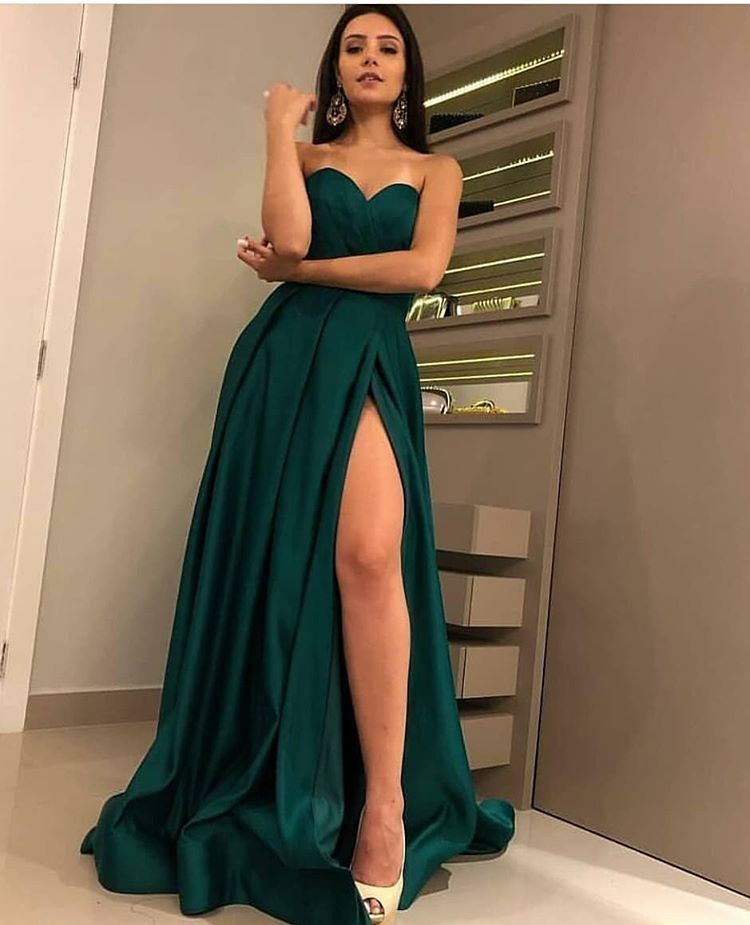 Sexy A-Line Side-Slit Dark-Green Prom Dress 2019 from MychicDress