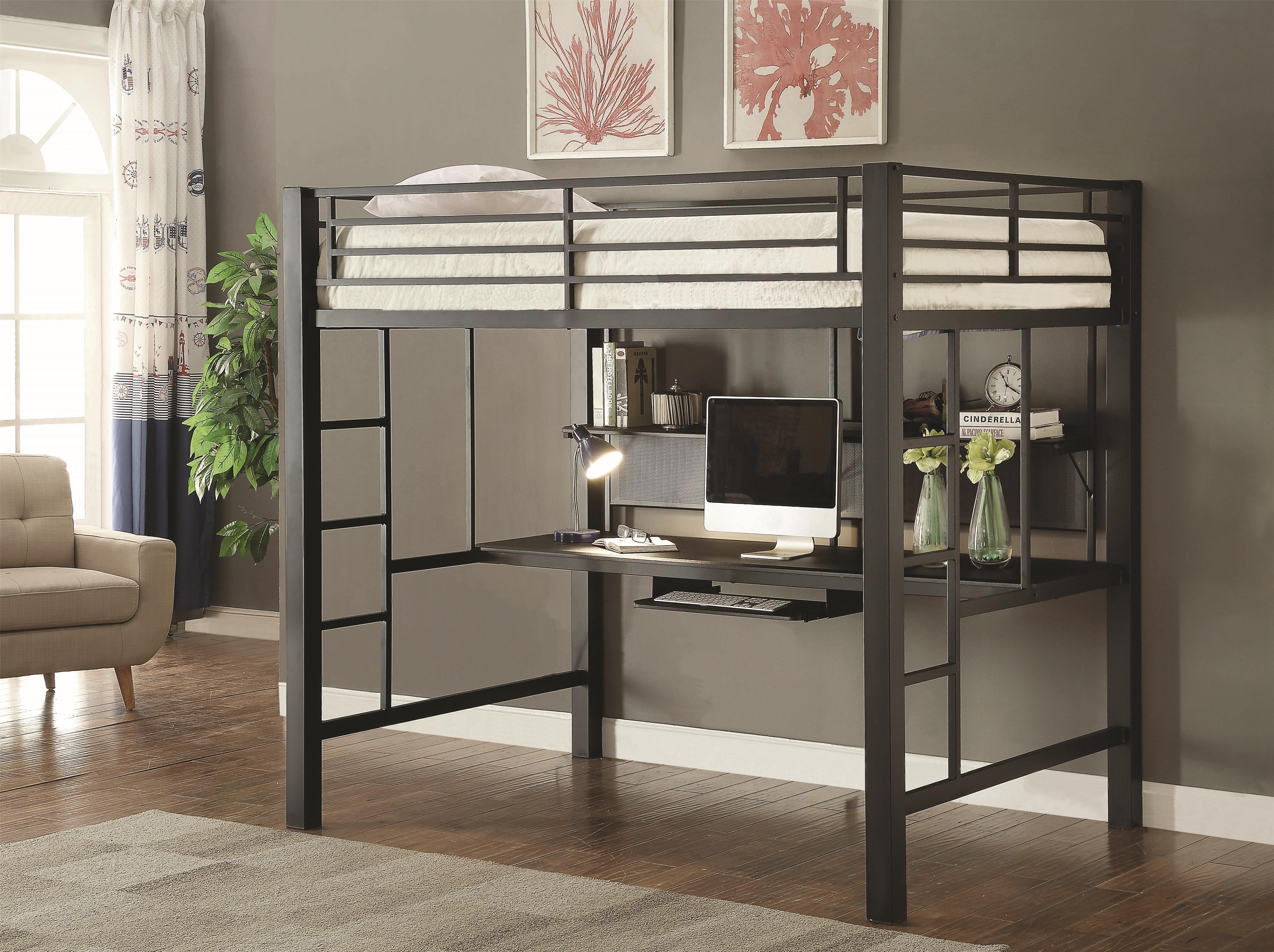 Coaster Bunks Workstation Full Loft Bed Fine Furniture