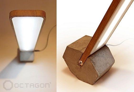 Luminária de concreto e madeira: