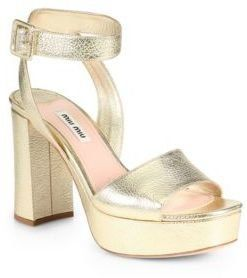 deals cheap online cheap sale looking for Miu Miu Metallic Ankle Strap Sandals sale outlet store discount footlocker finishline RCbW1sUup