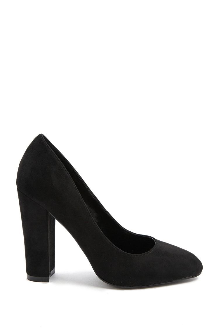 86d5db69e25 Faux Suede Block Heel Pumps