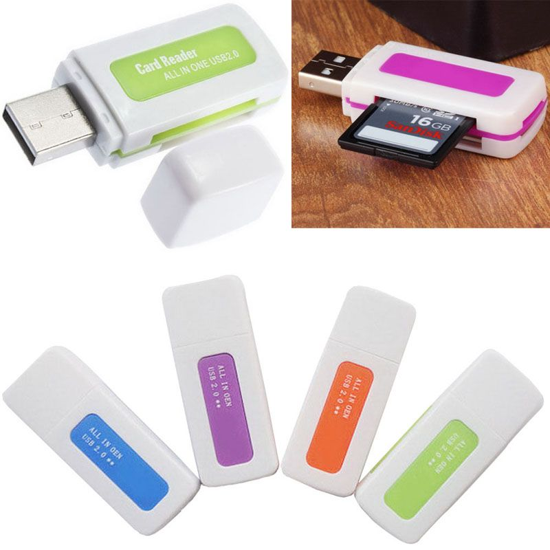 2X Protable 4 in 1 Memory Multi Cards Reader USB 2.0 for SD//TF//T-Flash//M2 Cards