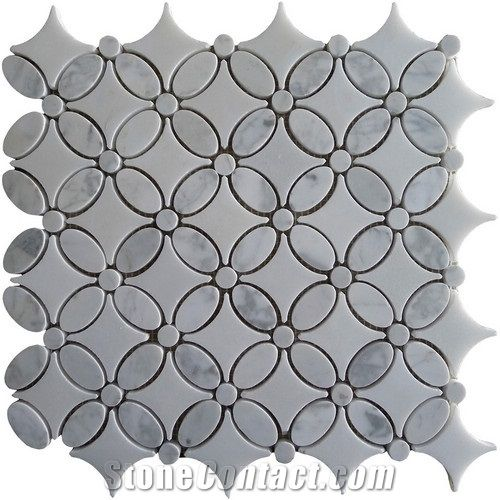 Bianco Carrara Marble And White Thos Hexagon Mosaic Tile From China Stonecontact