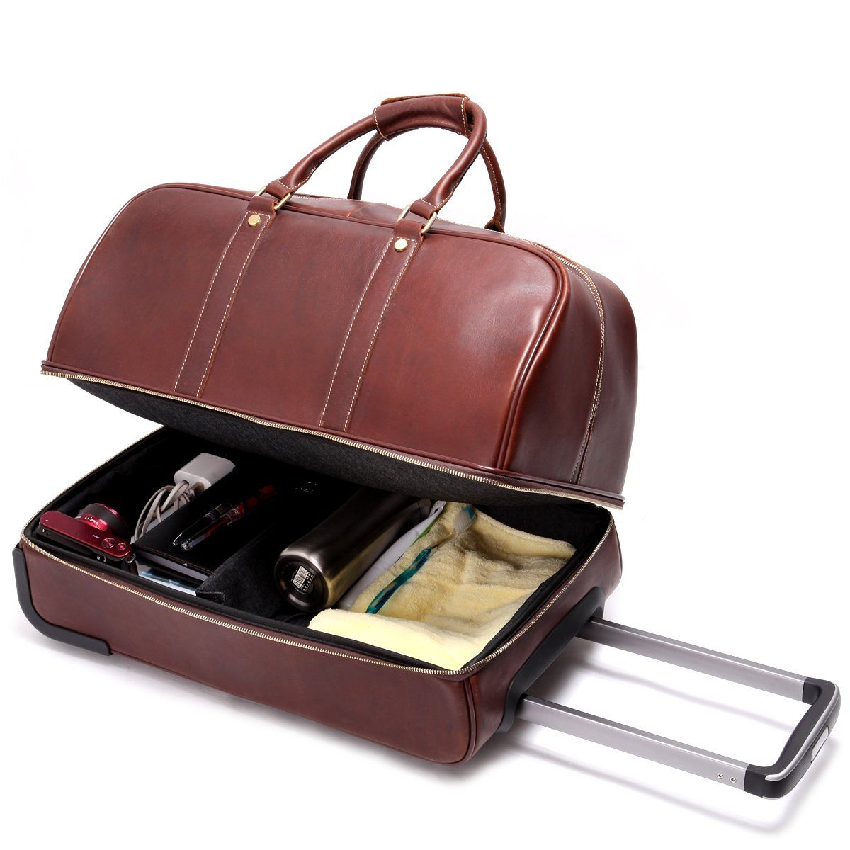 Leathario Men's Leather Luggage Wheeled Duffle, Leather Travel Bag ...