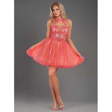 ce4beb166bb9 Φόρεμα κοντό από τούλι με δαντέλα και κέντημα