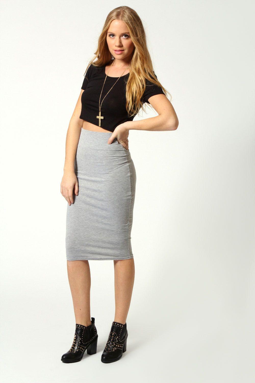 maddie basic jersey midi skirt | tube skirt, boohoo and gray
