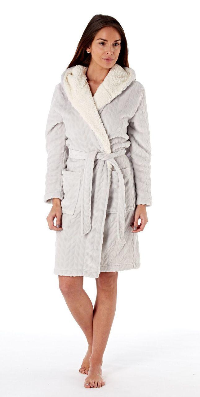 Ladies Textured Fleece Sherpa Lined Hooded Bath Robe: Grey ...