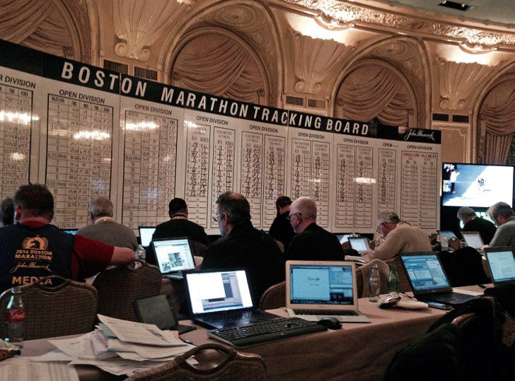 Pin for Later: Boston Strong: A View From Marathon Weekend Behind the Curtain Michele's view from the press room on Marathon Monday. This was one of three rooms packed with journalists. Photo: Michele Foley