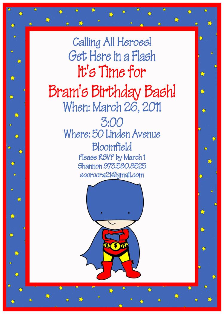 Sample Superhero Theme Party Invitation | Superhero Party ...