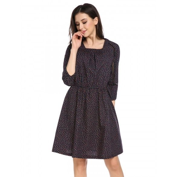 Women Square Neck 3/4 Sleeve Floral Print Casual Dress