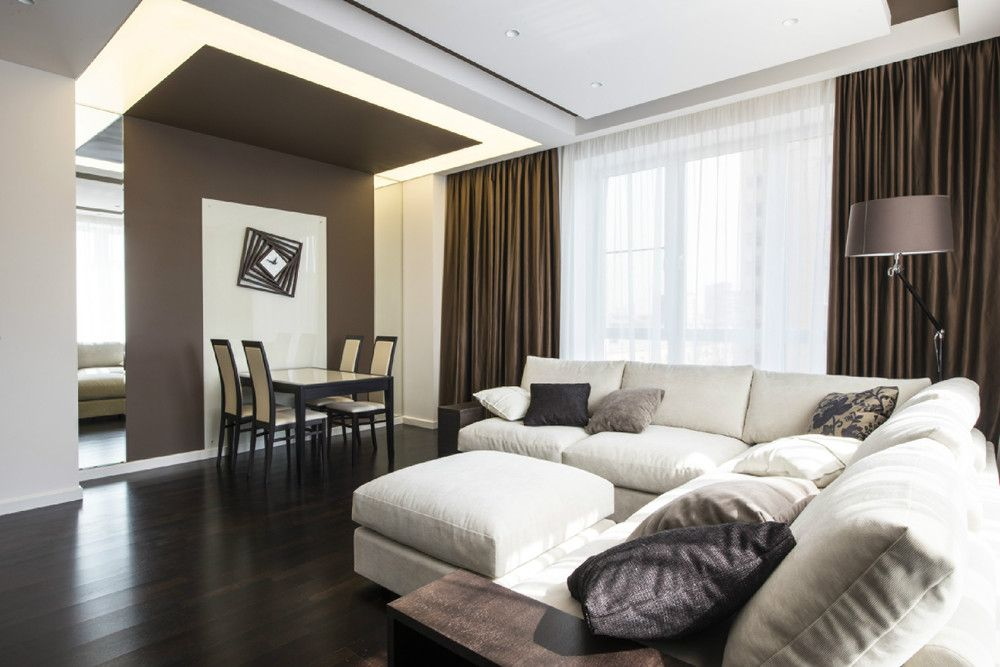 White And Taupe Room Design