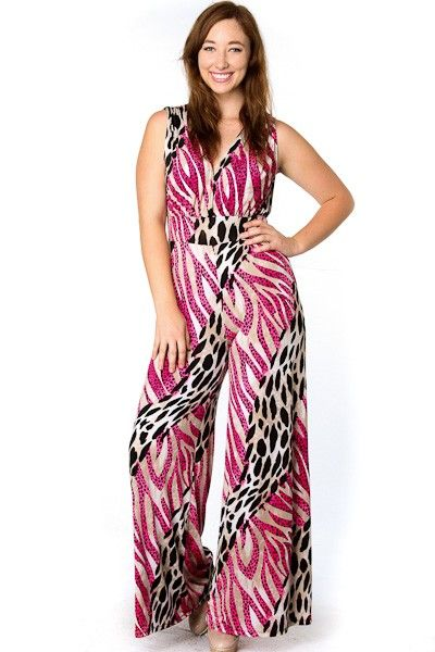 plus size wild animal print wide leg jumpsuit availability: in