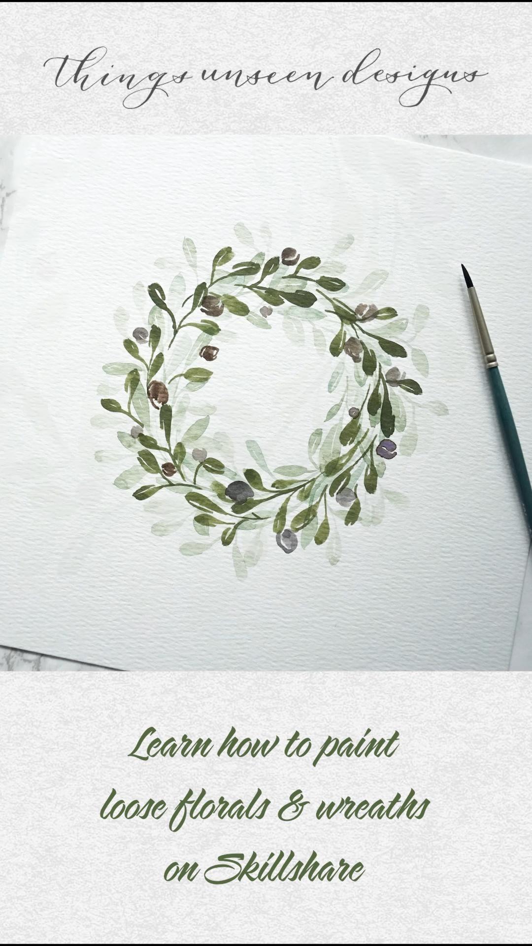 Watercolor Loose Floral Wreath