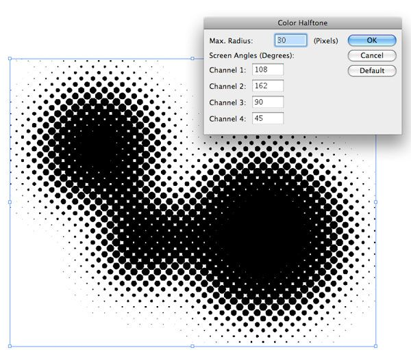 Gaussian Blur, Effect > Pixelate > Color Halftone