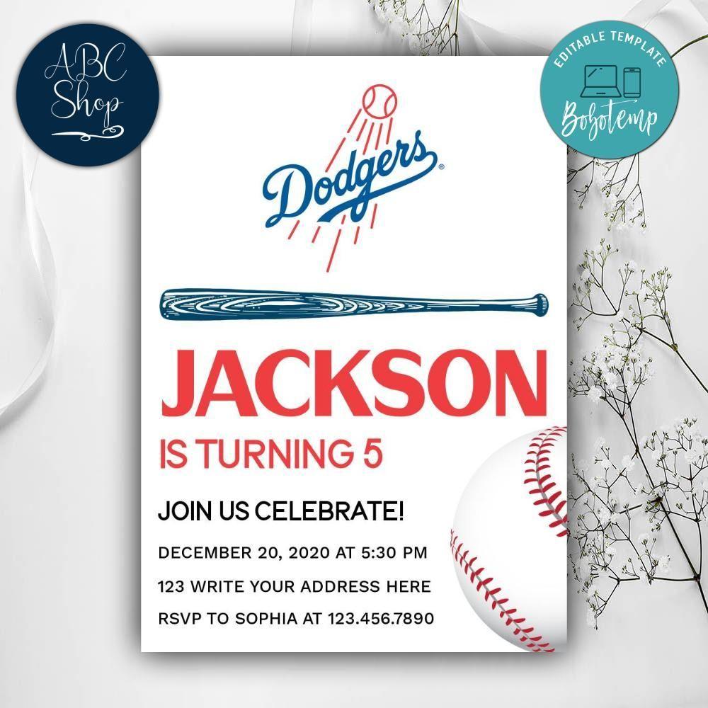 Printable Los Angeles Dodgers Birthday Invitation DIY in