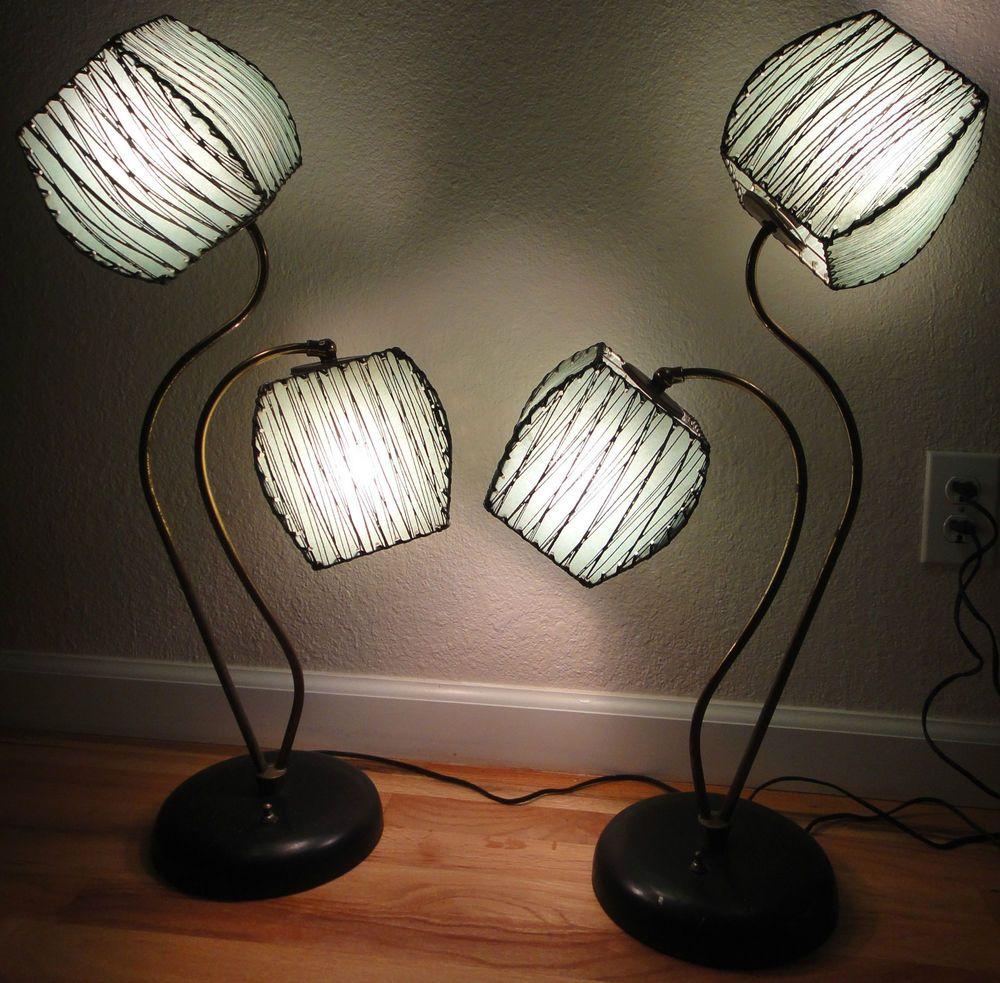 Pair Vtg 50s Lamps Fiberglass Shades Mid Century Modern Eames Majestic Era Retro Lamp Pink Lamp Shade Wall Lamp Shades