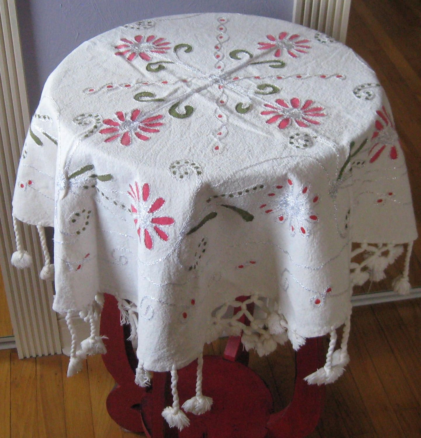Table Topper. Small Round Tablecloth . Turkish Table Topper . Tassel Table  Topper . Embroidered Table Topper . Made In Turkey By Vintagous On Etsy
