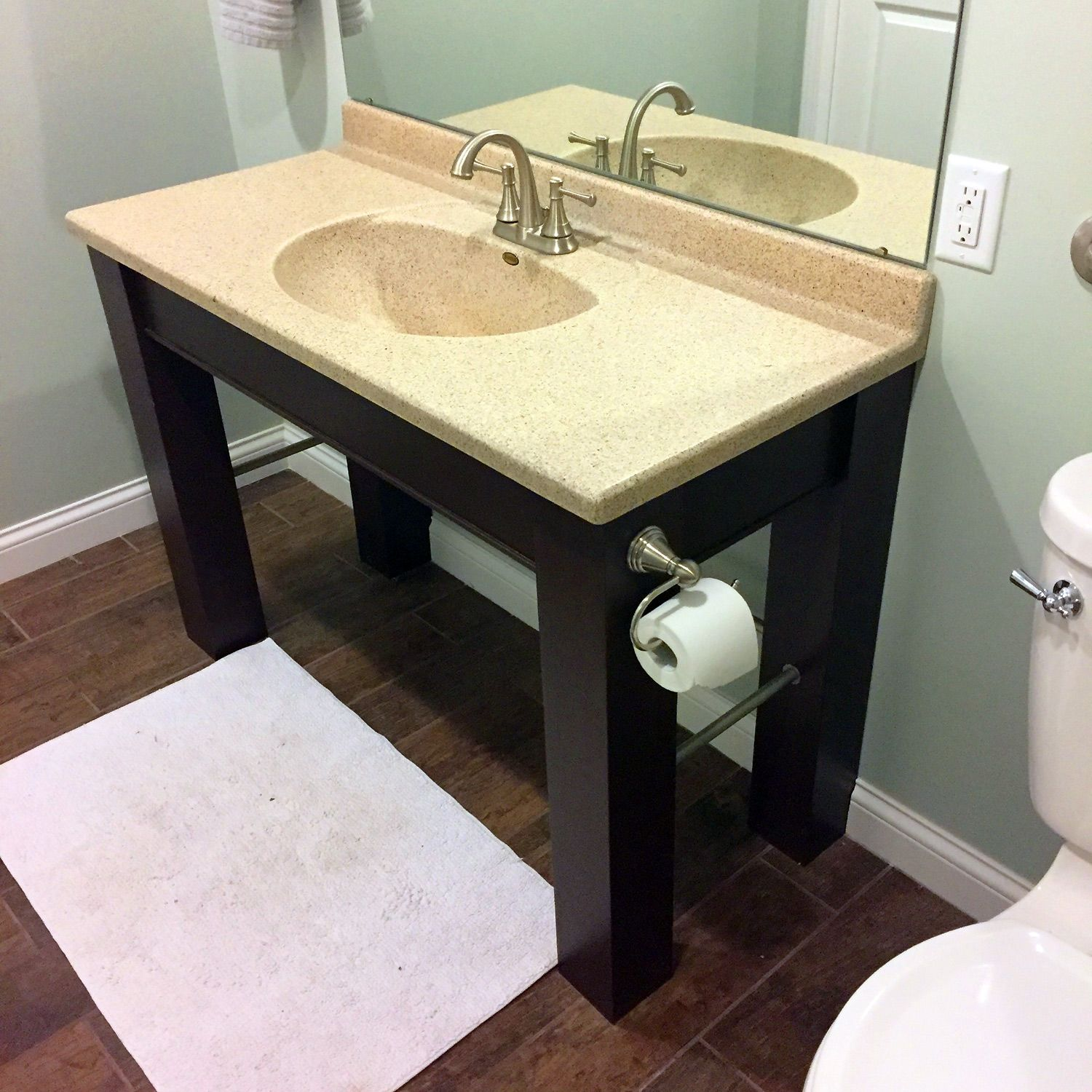 There Aren T A Lot Of Options Out There For Ada Compliant Vanities Most Are Wall Mounted Which I Didn T Ada Bathroom Disabled Bathroom Bathroom Design Plans