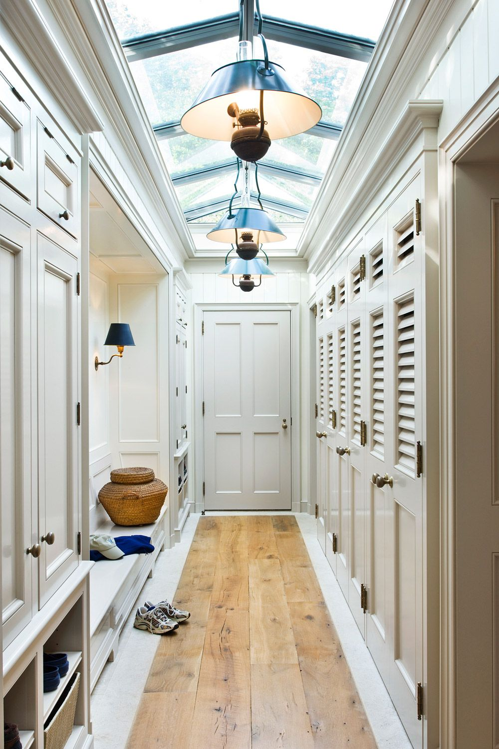 Elegant Mudroom With Glass Ceiling Bench Bespoke