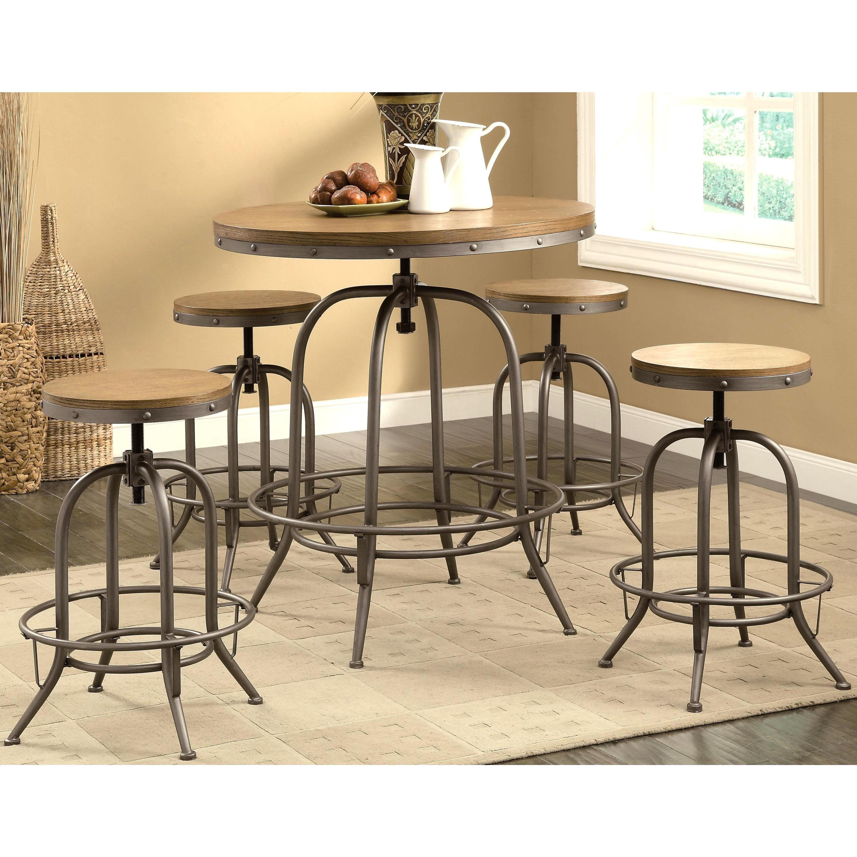 Franklin Nostalgic Distressed Wood Adjustable Bar Table And Stools - Distressed wood pub table