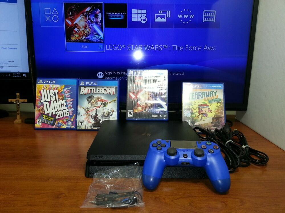 PS4 500GB Slim Black Console New Wave Blue Controller