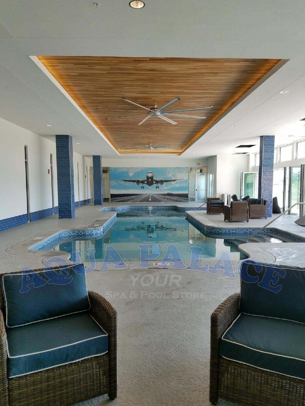 Atlas Apartments In Downtown Omaha Ne Shotcrete Pool On 1st Floor With Airplane Landing Strip Centered In Bottom Of Pool Mat Pool Pool Designs Pool Builders